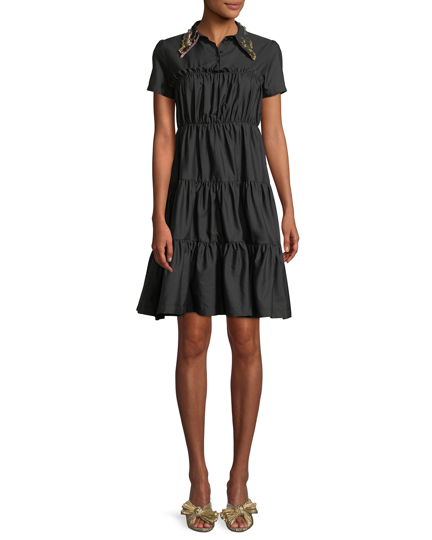 211e72970273 No. 21 Shirred Shirt Dress w/ Embellished Collar | Neiman Marcus