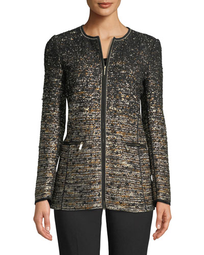Karina Zip-Front Tweed Jacket w/ Tape Seams
