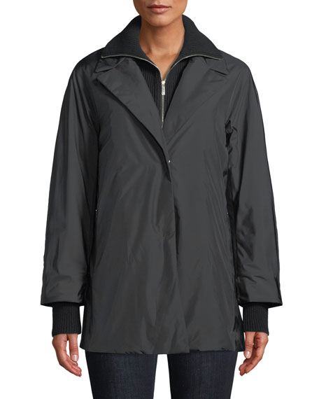 Arie Zip-Front Parka Jacket w/ Knit Zip-Out Collar