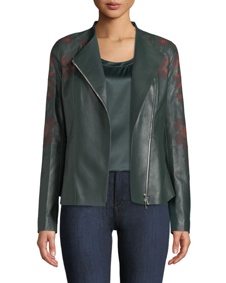 Lafayette 148 New York Aimes Zip-Front Floral-Embroidered