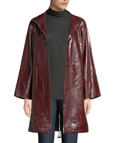 Minerva Zip-Front Lacquered Lambskin Leather Jacket