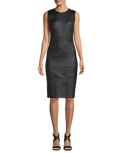 Sleeveless Leather Knee-Length Dress