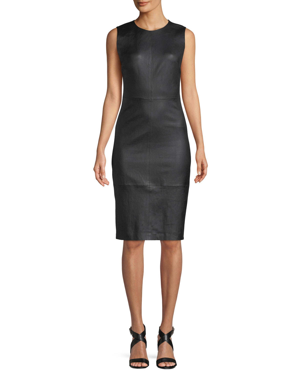 77a25b7f107 Vince Sleeveless Leather Knee-Length Dress | Neiman Marcus