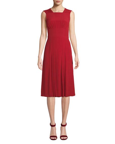 No. 21 Red Pleated Sleeveless Midi Dress