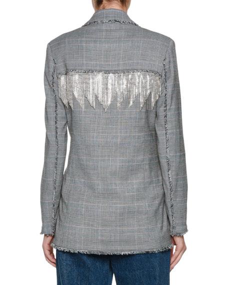 Plaid Wool Blazer w/ Crystal Fringe