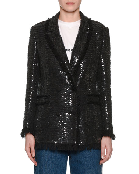 Sequin Double-Breasted Blazer W/ Fringe, Black