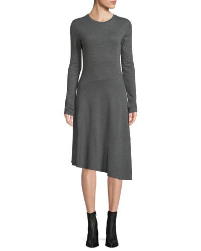 Long-Sleeve Asymmetric Midi Dress