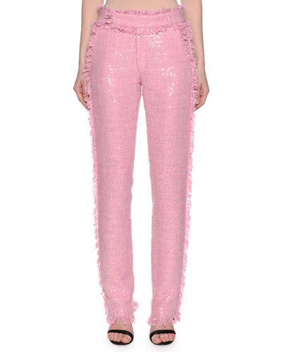 High Waister Sequin Tweed Trousers