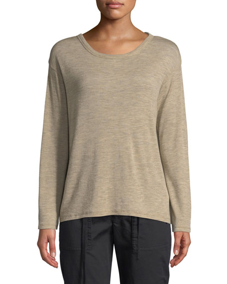 Relaxed Long-Sleeve Wool Crewneck Top