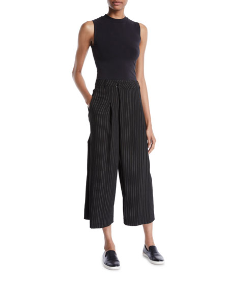 Striped High-Rise Cropped Culotte Pants