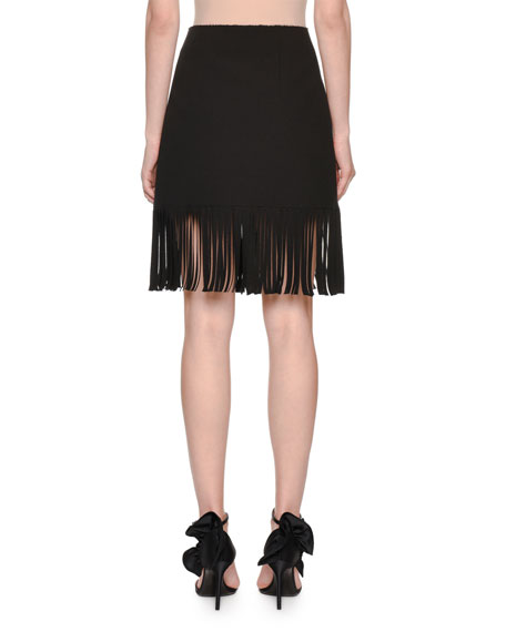 High-Rise Fringe Skirt