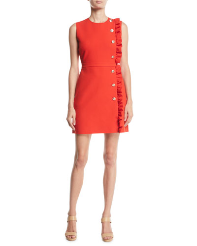 Ruffle Button-Trim Mini Dress