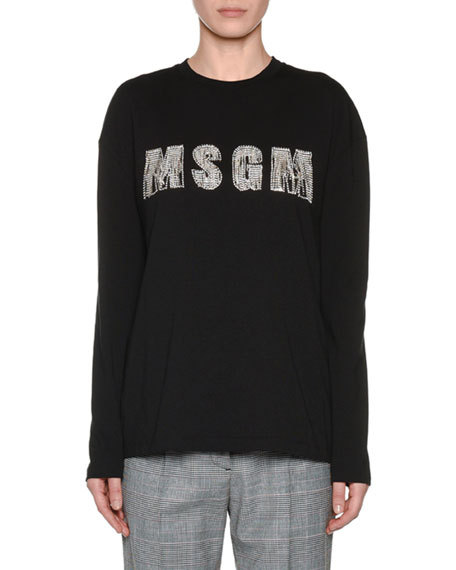 Embellished Long-Sleeve Crewneck Top