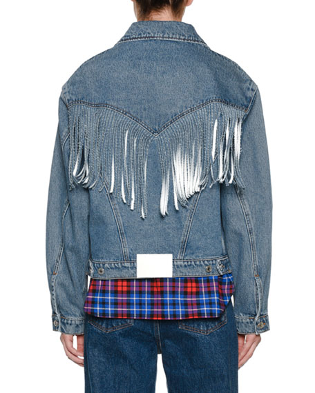 Button-Front Denim Jacket w/ Fringe