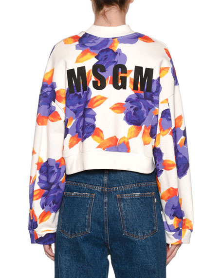 Cropped Floral-Print Logo Sweatshirt