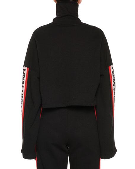 Bell-Sleeve Cropped Logo Turtleneck Sweatshirt