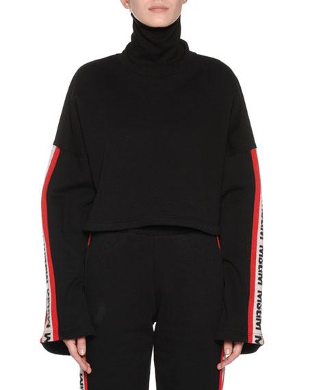 Bell-Sleeve Cropped Logo Turtleneck Sweatshirt, Black