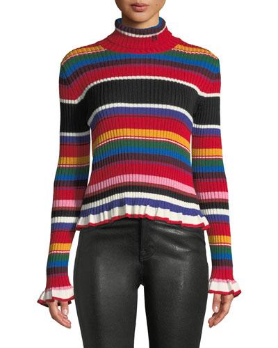 Striped Turtleneck Rainbow Ruffle Sweater