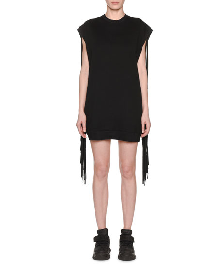 Sleeveless Crewneck Sweatshirt Dress w/ Fringe