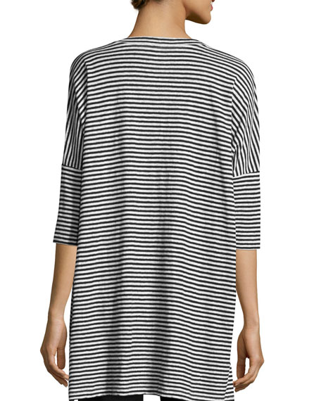 Striped Organic Linen Jersey V-Neck Tunic, Plus Size