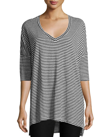 Eileen Fisher Striped Organic Linen Jersey V-Neck Tunic,