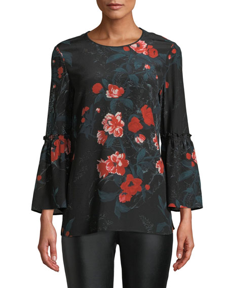 Lafayette 148 New York Roslin Bell-Sleeve Top w/