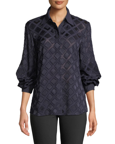 Cardee Button-Front Long-Sleeve Vertex Fil Coupe Blouse
