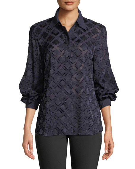 Lafayette 148 New York Cardee Button-Front Long-Sleeve Vertex