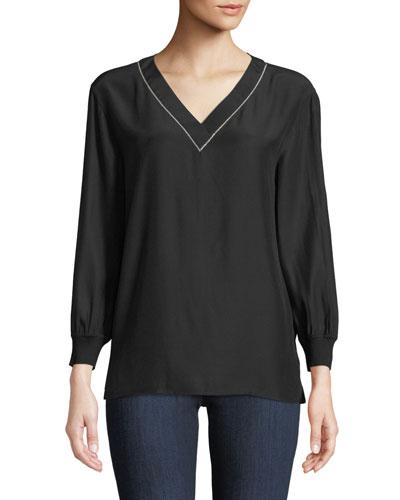 V-Neck Long-Sleeve Matte Silk Blouse w/ Rib Trim