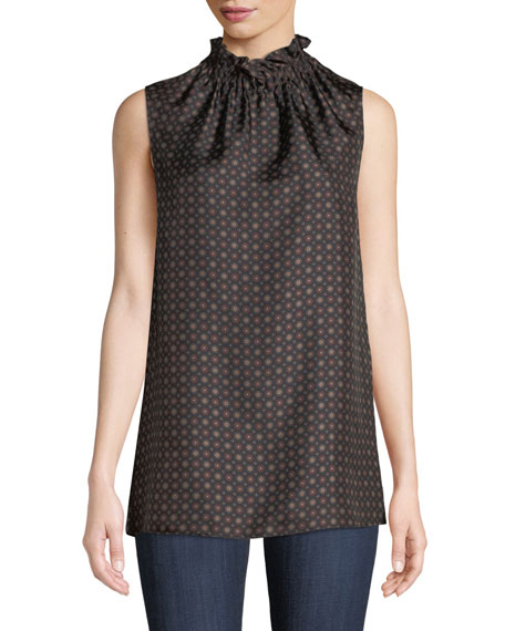 Lafayette 148 New York Percy Ruffled-Neck Sleeveless Foulard