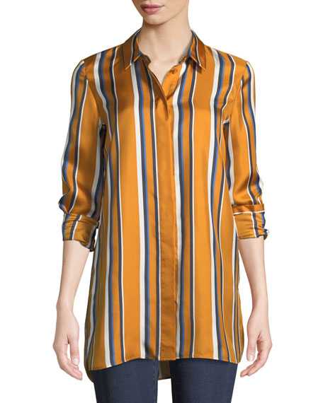 Lafayette 148 New York Barry Long-Sleeve Button-Front Striped