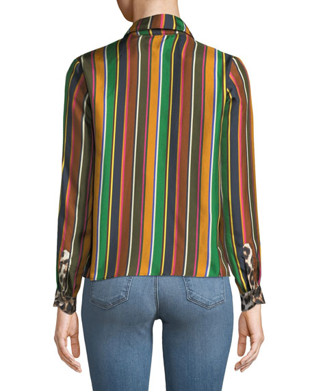 Twiggy Striped Silk Top w/ Contrast Pockets