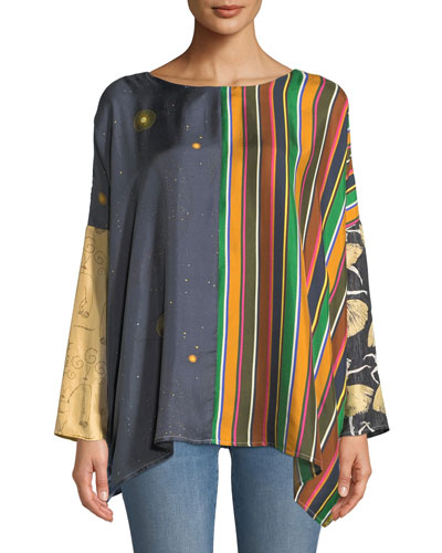 Nathalie Reversible Mixed-Print Silk Top