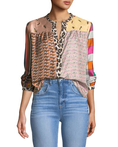 Mixed-Print Mandarin-Collar Silk Blouse