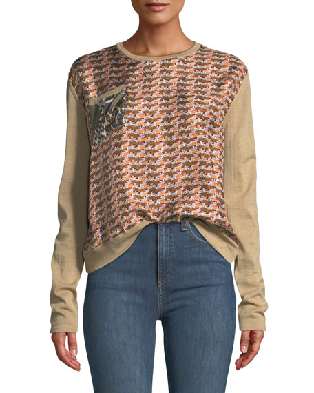 Flower-Back Wool Jumper Top
