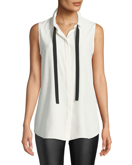Lafayette 148 New York Dorete Button-Front Sleeveless Silk