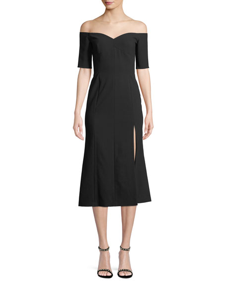 MARISOL OFF-THE-SHOULDER MIDI DRESS