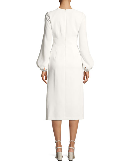 Krystal Crepe Slit-Sleeve Midi Cocktail Dress