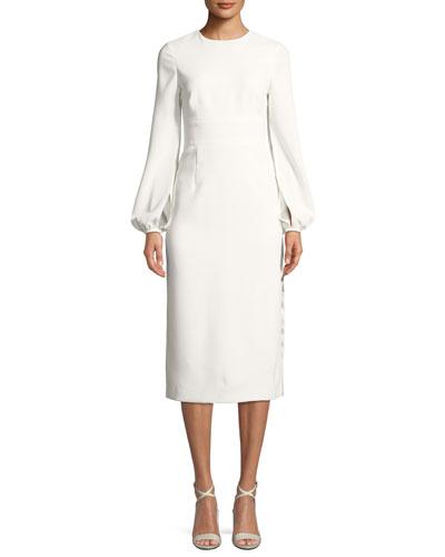 Krystal Crepe Slit-Sleeve Midi Cocktail Dress