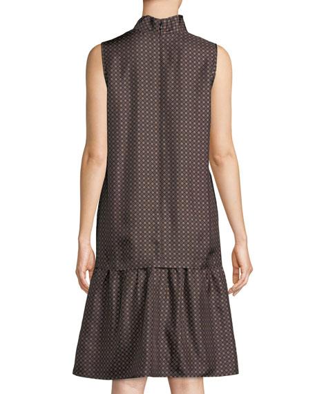 Abbie Silk Foulard Tie-Neck Sleeveless A-Line Dress