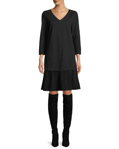 Larsa V-Neck Long-Sleeve Punto Milano Dress w/ Crepe Combo