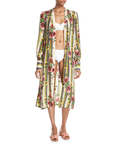 Hand-Beaded Striped Floral Kimono