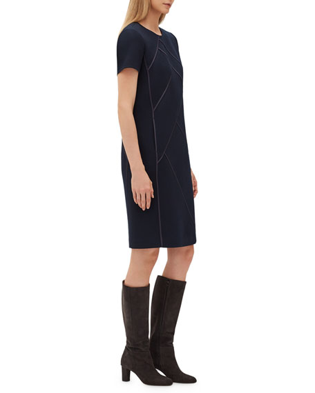 Henora Short-Sleeve Crewneck A-Line Wool Dress w/ Charmeuse Piping