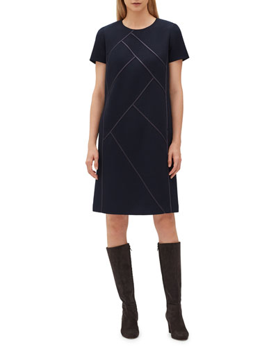 Henora Short-Sleeve Crewneck A-Line Wool Dress w/ Charmeuse Piping