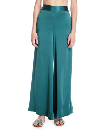 Silk Charmeuse Ultra Flare-Leg Pants