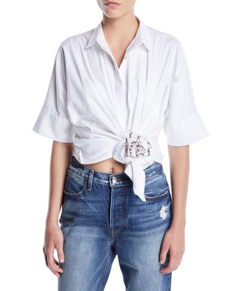 Hand-Beaded Tiger Button-Front Shirtdress