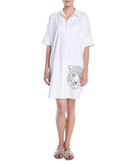 VERANDAH Hand-Beaded Tiger Button-Front Shirtdress in White