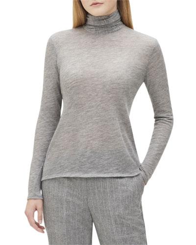 Dresden Turtleneck Long-Sleeve Cashmere Jersey Top