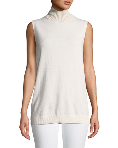 Turtleneck Sleeveless Cashmere Sweater