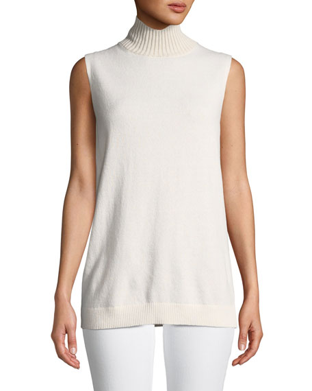 Lafayette 148 New York Turtleneck Sleeveless Cashmere Sweater